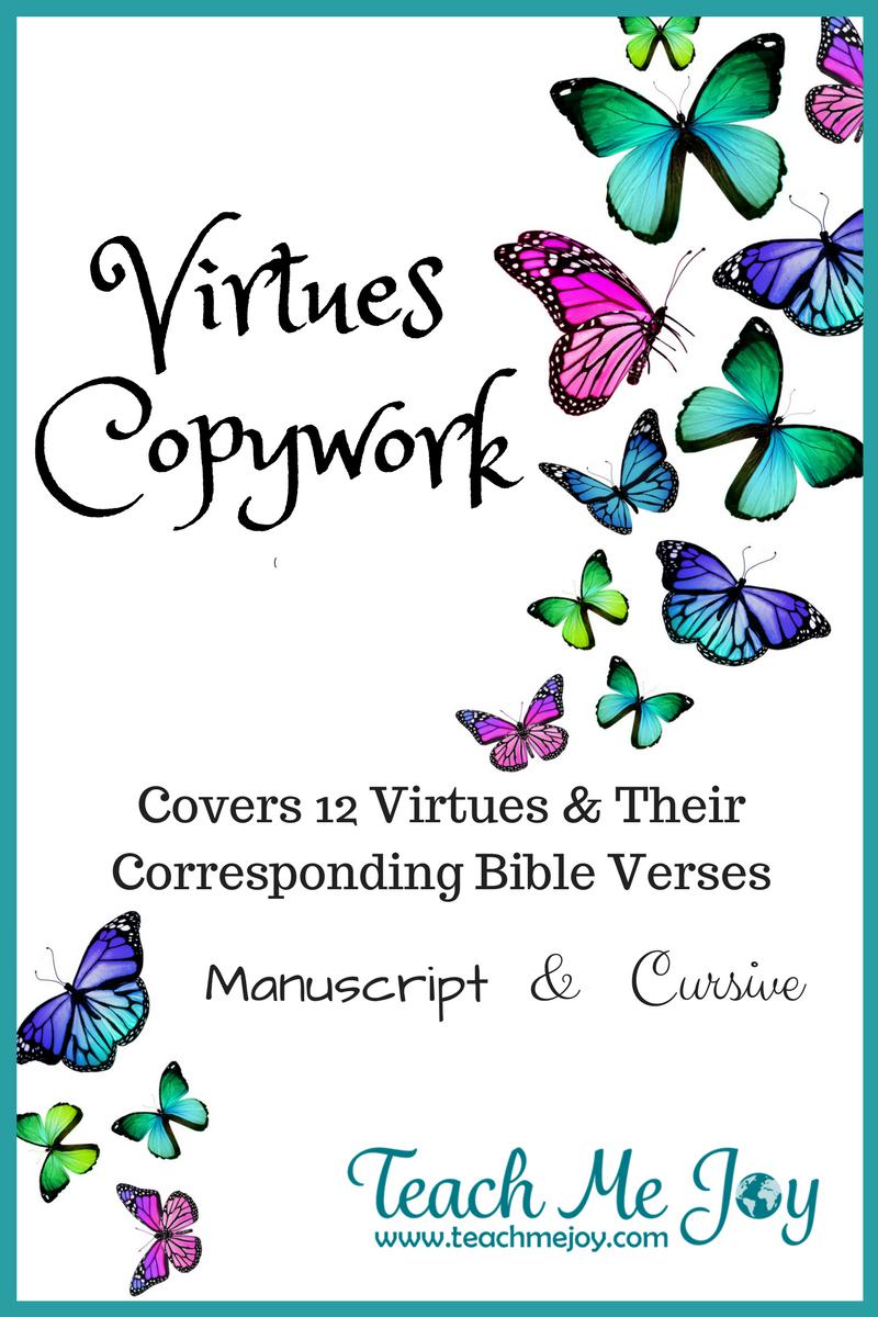 12 Virtues virtues copywork - the joy of copywork!